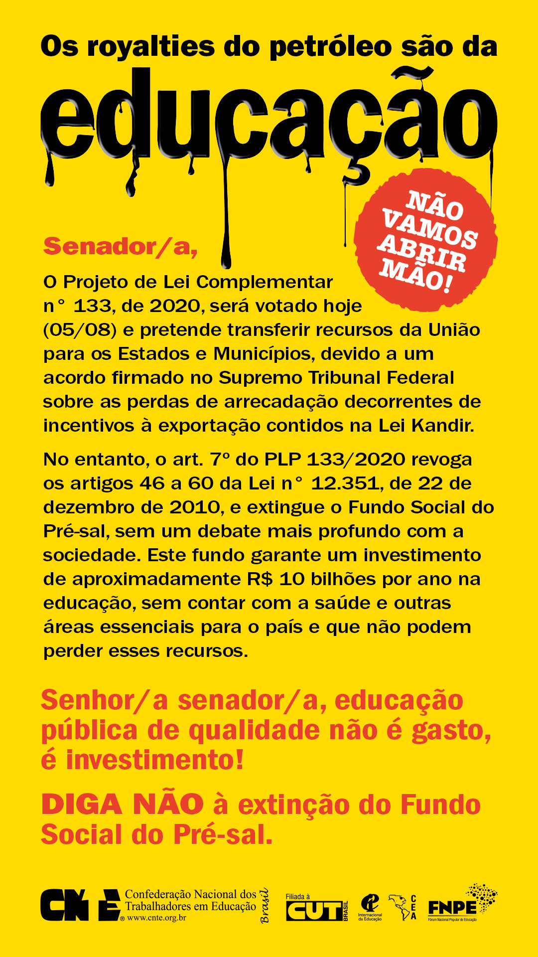 campanha petroleo educacao 2020 senadores